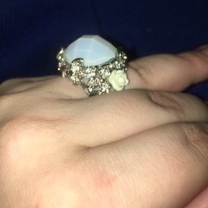 Square Opal Flower Ring